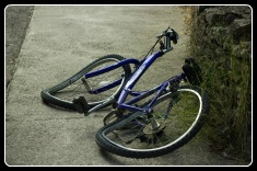 broken bicycle after a crash