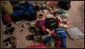 gear laid out before packing for a bike adventure